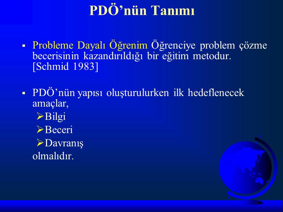 PDÖ'nün Tanımı Probleme Dayalı Öğrenim Öğrenciye problem çözme becerisinin kazandırıldığı bir eğitim metodur. [Schmid 1983]